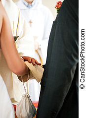 noce couple, réception, bénédiction, depuis, prêtre