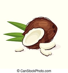 noce di cocco, con, verde, leaves.