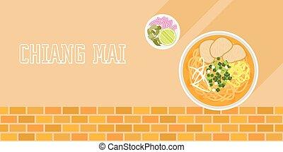 noce di cocco, disegno, cipolle, khao, manzo, laos, calce,...