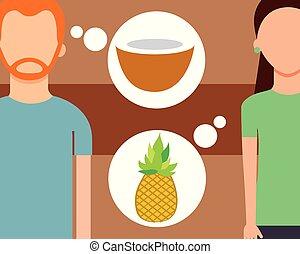 noce di cocco, donna, ananas, parlare, frutte, fresco, uomo