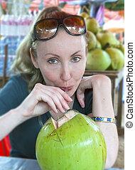 noce di cocco, donna, grande, verde, coco, latte, bibite