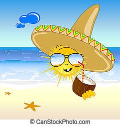 noce di cocco, e, sole, spiaggia, vettore, illustrazione