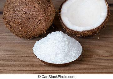 noce di cocco, fiocchi, in, uno, ciotola, su, legno, fondo