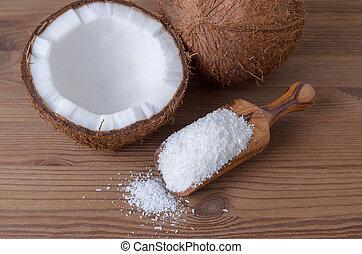 noce di cocco, fiocchi, in, uno, paletta, su, legno, fondo
