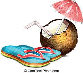 noce di cocco, flops, buffetto