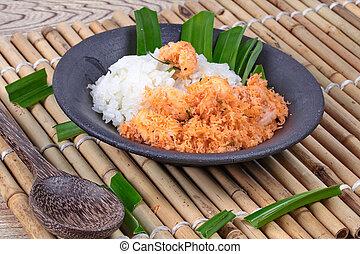 noce di cocco, grattugiato, mescolare-fritto, chiudere, riso, su