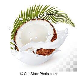 noce di cocco, in, uno, latte, schizzo, su, uno, trasparente, fondo., vector.