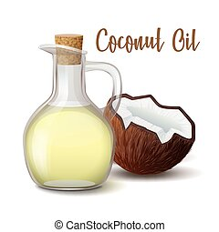 noce di cocco, olio, brocca, vetro, legno, tappo, illustrazione, isolato, fondo., vettore, chiuso, bianco