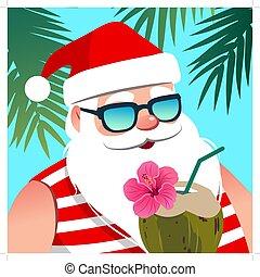 noce di cocco, vacanza, palma, anno, tempo, element., tropicale, fondo., tema, nuovo, vacanza, natale, il portare, spiaggia, claus, bevanda, occhiali da sole, ricorso, riscaldare, albero, santa, contro, oceano, disegno