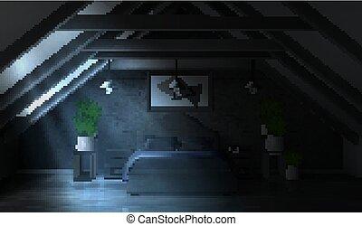 noche, ático, luz de la luna, dormitorio, interior, vacío