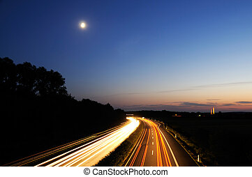 noche, alemania, carretera