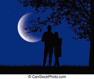 noche, amantes, mirar, debajo, cielo, dos, luminoso, luna, ...