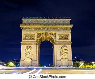 noche, arco, parís, triunfo, francia