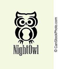 noche, búho, logotipo