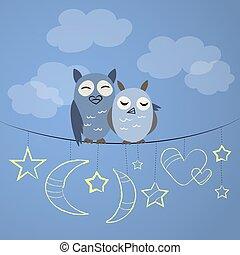 noche, búho, pareja
