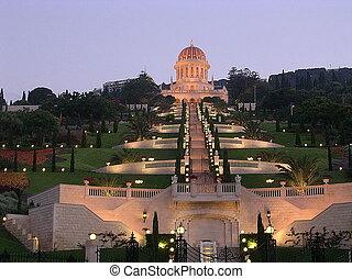 noche, bab, santuario, haifa, bahai, y, jardines