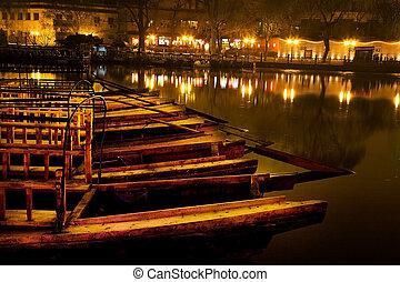 noche, beijing, lago, barcos, houhaid, china, de madera