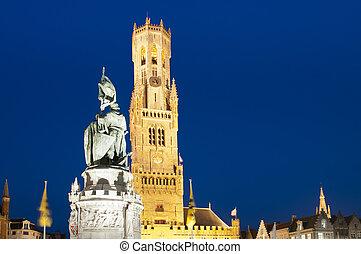 noche, belgium., campanario, mercado, brujas
