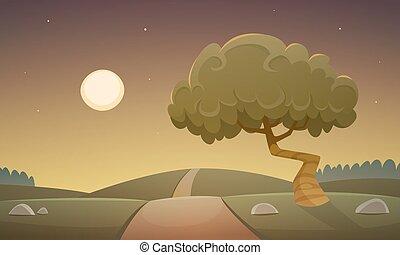noche, campo, paisaje