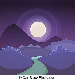 noche, caricatura, paisaje