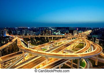 noche, china, paso superior, ciudad, chengdu