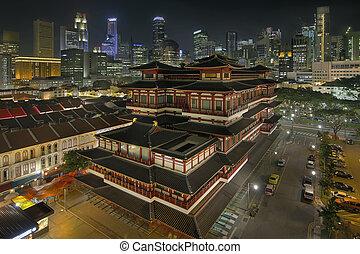 noche, chinatown, templo, chino, singapur