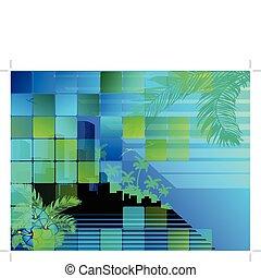 noche, cityscape, tropical