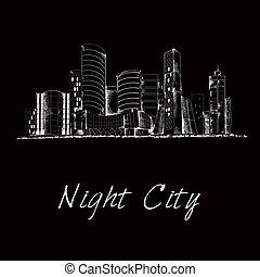 noche, ciudad, bosquejo, contorno