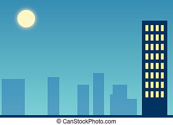 noche, ciudad, con, la luna