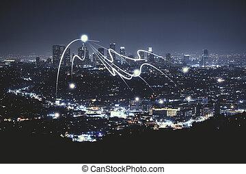 noche, ciudad, papel pintado