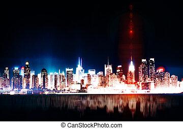 noche, ciudad, plano de fondo