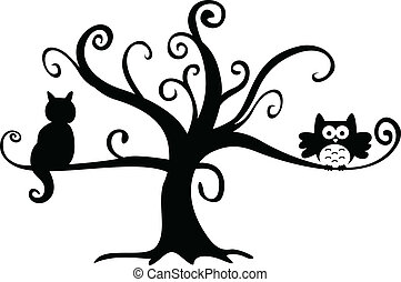 noche de halloween, búho, y, gato, en, árbol