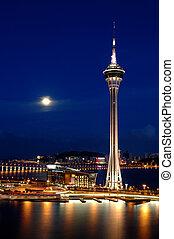 noche, de, torre, covention, y, centro entretenimiento