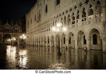 noche, doge's, italia, palacio, venecia
