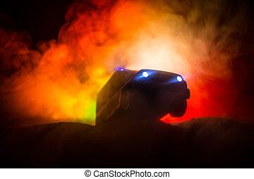 noche, emergencia, coche, fondo., policía, night., 911, respuesta, coches, niebla, perseguir