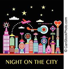 noche, en, la ciudad