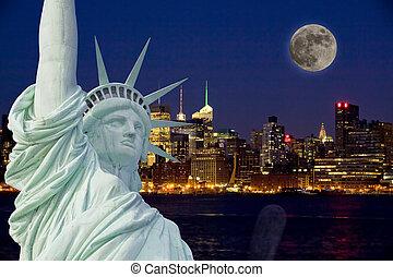 noche, estatua, libertad, luna