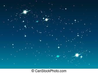 noche, estrellado, sky., estrellas, y, espacio