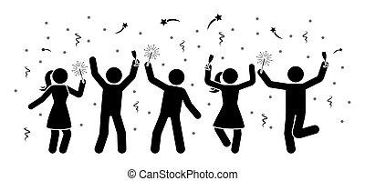 noche, figuras, año, nuevo, palo, hombres, mujeres, celebrar, icono