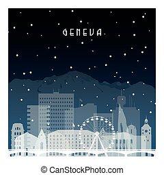noche, geneva., invierno