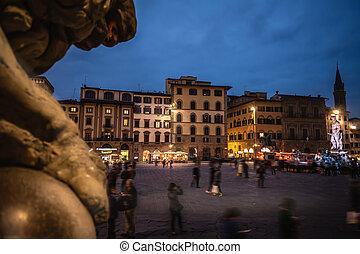 noche, gente, piazza della signoria, florencia