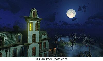 noche, grande, sobre, mansión, luna, asustadizo