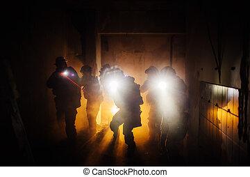 noche, guardabosques, militar, operación, comando