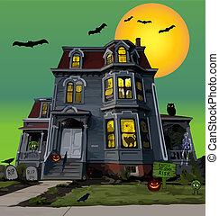 noche, halloween, casa, obsesionado