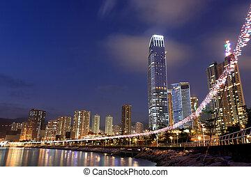 noche, hong, highrise, edificios, kong