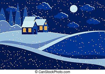 noche, houses., luna, paisaje de invierno, escena