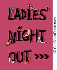 noche, invitación, ladies', afuera