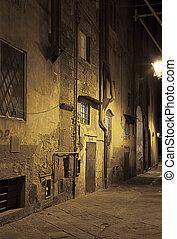 noche, italia, pisa, calles