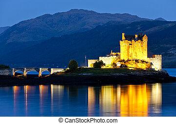 noche, lago, escocia, donan, castillo, eilean, duich