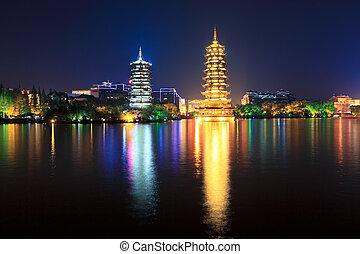 noche, lago, pagodas, banyan